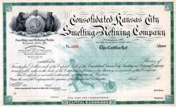 Consolidated Kansas City Smelting and Refining Company (Early United We Stand Vignette) - Missouri 1880's