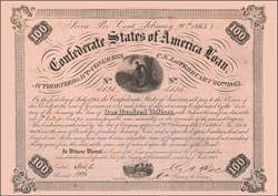 Confederate States of America $100 War Bond - Officer overlooking Rappahannock River - Ball #212 - 1863