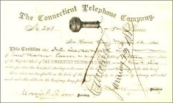 Connecticut Telephone Company (SNET) 1882 ( Early AT&T Company ) signed by Governor Marshall Jewell