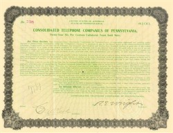 Consolidated Telephone Companies of Pennsylvania 1908 - Gold Note