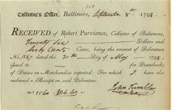 Collection Receipt, Baltimore - R. Purviance - Baltimore, Maryland 1798
