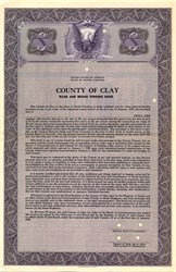 County of Clay Road and Bridge Funding Bond - North Carolina 1940