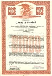 County of Cleveland Sanitary Sewer Bond - North Carolina 1958