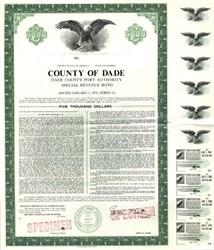 Dade County Port Authority Special Revenue Bond - Miami, Florida 1961 to 1971