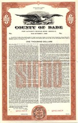 County of Dade Port Authority Bond - Florida 1959