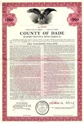 County of Dade -  Seaport Revenue Bond for Cruise Ships and Cargo Ships - Miami, Florida 1964