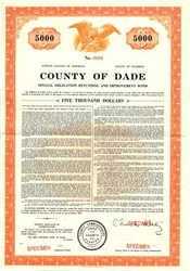 County of Dade Special Obligation Refunding and Improvement Bond - Florida 1964