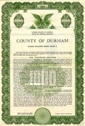 County of Durham School Building Bond - North Carolina 1957