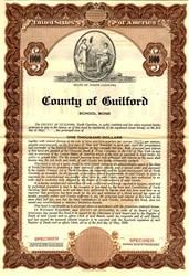County of Guilford School Bond - North Carolina 1936