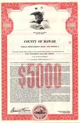 County of Hawaii Public Improvement Bond - Hawaii 1974