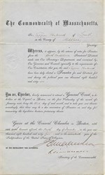 Election Results for Senator Tappan Wentworth of  Commonwealth of Massachusetts signed by Governor -  1865