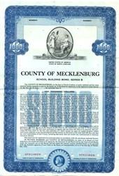 County of Mecklenburg School Building Bond - North Carolina 1953