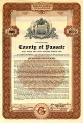 County of Passiac $1000 Bond - New Jersey 1934