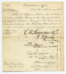 Check signed by Cornelius Van Wyck Lawrence (first popularly elected Mayor of New York)   for New York City Stock Purchased  - 1835