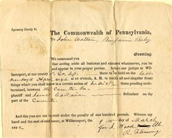 Commonwealth of Pennsylvania Summons  - Williamsport, Pennsylvania 1832
