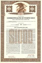Commonwealth of Puerto Rico Public Improvment Bond - Puerto Rico 1954