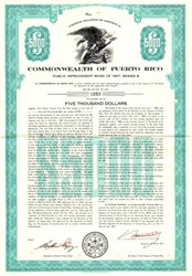 Commonwealth of Puerto Rico Public Improvement Bond - Puerto Rico 1967