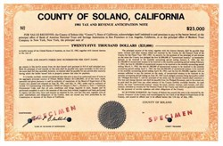 County of Solano, California - Specimen Revenue Note 1981