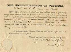 Commonwealth of Virginia Appointment signed by Governor Thomas Walker Gilmer 1840