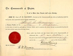 Commonwealth of Virginia Appointment signed by Governor, Philip W. McKinney - 1890