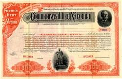 Commonwealth of Virginia Specimen Bond Certificate (Statue of Stonewall Jackson) - Bond Certificate - 1891