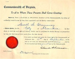 Commonwealth of Virginia Appointment signed by Governor, Claude A. Swanson - 1906