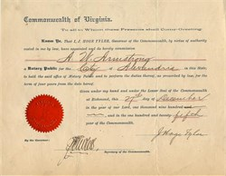 Commonwealth of Virginia signed by James Hoge Tyler  - 1900