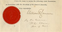 Commonwealth of Virginia signed by Virginia Governor, William Evelyn Cameron - 1880's
