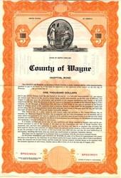 County of Wayne Hospital Bond - North Carolina 1952