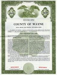 County of Wayne,  North Carolina  -  Road, Bridge and General Refunding Bond -1957