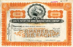 Colt's Patent Fire Arms Manufacturing Company hand signed by President, Samuel M. Stone, - Connecticut 1940