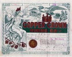 Copper Crown Mining Company - RARE Beautiful Michigan Mining - 1910