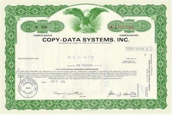 Copy Data Systems Stock Certificate