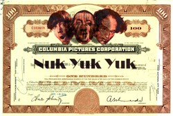 Columbia Pictures Corporation with Three Stooges Image and Nuk Yuk Yuk on Certificate - 1965