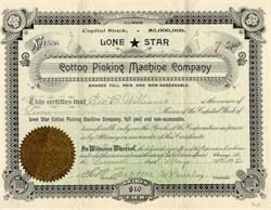 Lone Star Cotton Picking Machine Company - Illinois 1892