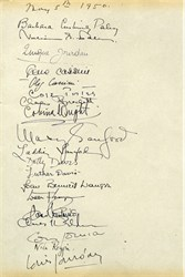 Cole Porter, Joan Fontaine, Gene Tierney,William S. Paley and more - 19 Original Signatures on Guestbook Page From 1950