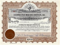 Cooperative Research Institute, Inc.- California 1959