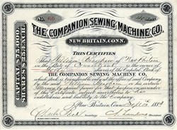 Companion Sewing Machine Co. - New Britain, Connecticut 1884