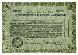 Commonwealth & Southern Corporation - Option Warrant - Delaware 1947