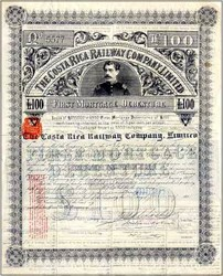 Costa Rica Railroad 1890 - Second Debenture