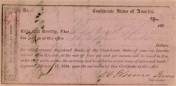 Confederate States of America Receipt signed by E.C. Elmore- 1864