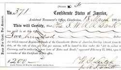 Confederate States of America Bond receipt from the Assistant Treasurer's Office of Charleston - 1864