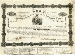 Confederate States of America $500 Bond signed by Robert Tyler  - 1862 -  Ball #46