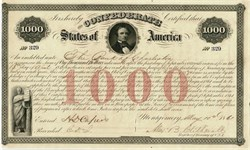 Confederate States of America Jefferson Davis $1,000 Bond - Rare Ball #16 - Montgomery, 1861
