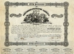 Confederate States of America Bond signed by Robert Tyler as Registry of the Treasury, was a son of U.S. President John Tyler - October 21, 1862 - Ball #98