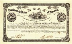 Confederate States of America Bond Certificate 1862 signed by Robert Tyler- Vignette of Liberty, Confederate Flag on  Shield, Ships -  Ball #38