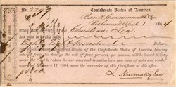 Bond Receipt  - Confederate States of America - Richmond, Virginia 1864