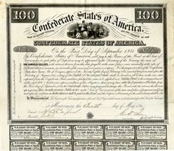Confederate States of America signed by Clitherall - Issued from Montgomery, Alabama before capital was moved to Richmond, Virginia - 1861 - Ball # 4