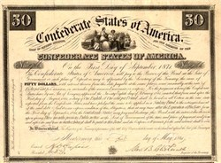 Confederate States of America  signed by Alexander Clitherall- Montgomery Bond (Pre moving capital to Richmond, Va.) - 1861 - Ball # 1
