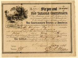 Confederate States of America - Non Taxable $5,000 Bond Certificate (SCARCE only 850 issued)  - September 19, 1864 - Ball 368